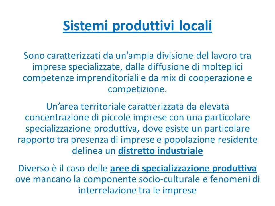 Sistemi produttivi locali Sono caratterizzati da un'ampia divisione del lavoro tra imprese specializzate, dalla diffusione di molteplici competenze im
