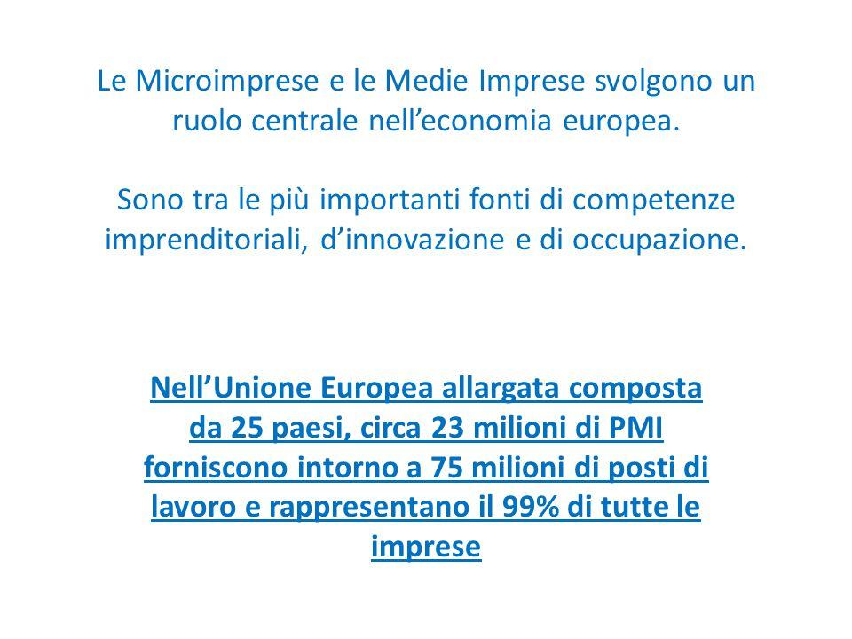 Le Microimprese e le Medie Imprese svolgono un ruolo centrale nell'economia europea. Sono tra le più importanti fonti di competenze imprenditoriali, d