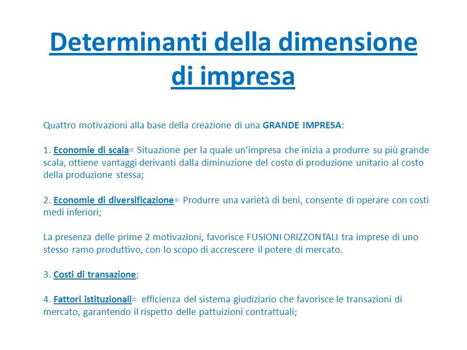 Determinanti della dimensione di impresa Quattro motivazioni alla base della creazione di una GRANDE IMPRESA: 1. Economie di scala= Situazione per la