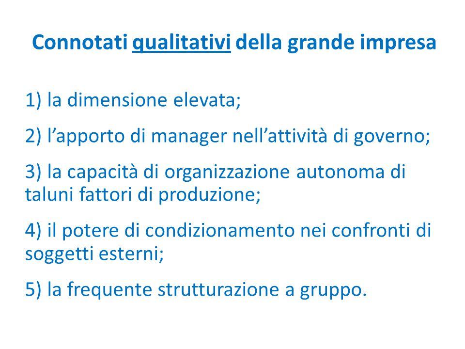 Connotati qualitativi della grande impresa 1) la dimensione elevata; 2) l'apporto di manager nell'attività di governo; 3) la capacità di organizzazion