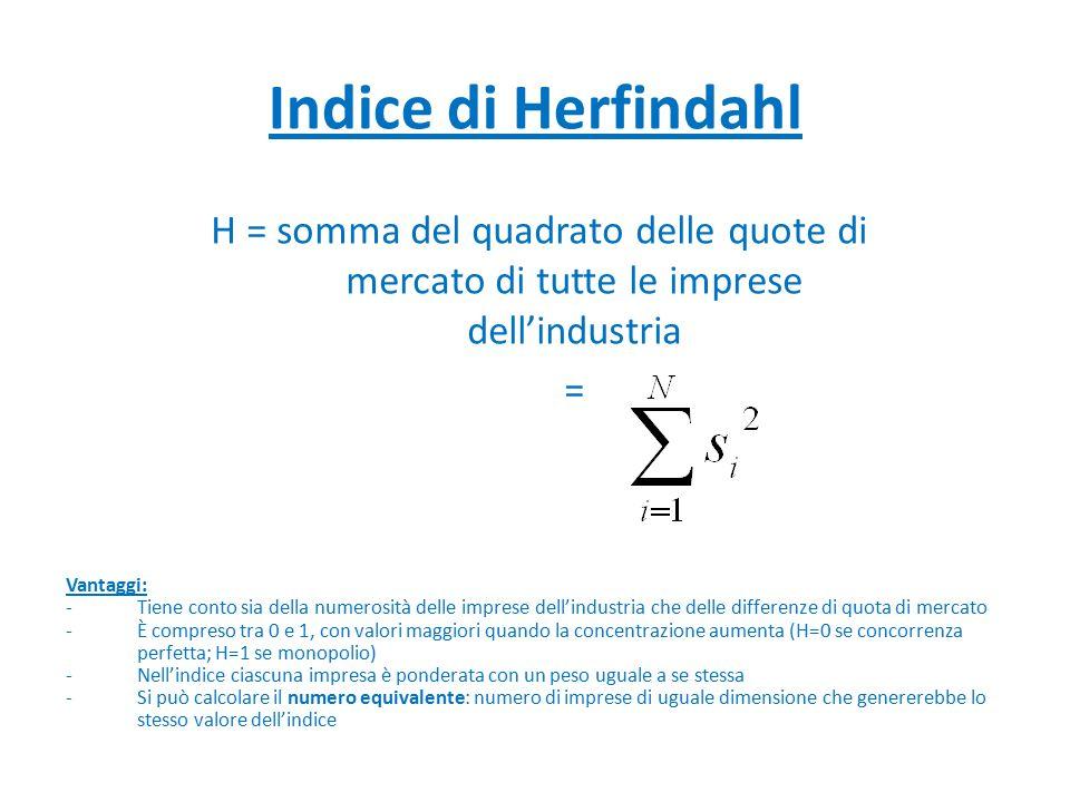 Indice di Herfindahl H = somma del quadrato delle quote di mercato di tutte le imprese dell'industria = Vantaggi: -Tiene conto sia della numerosità de