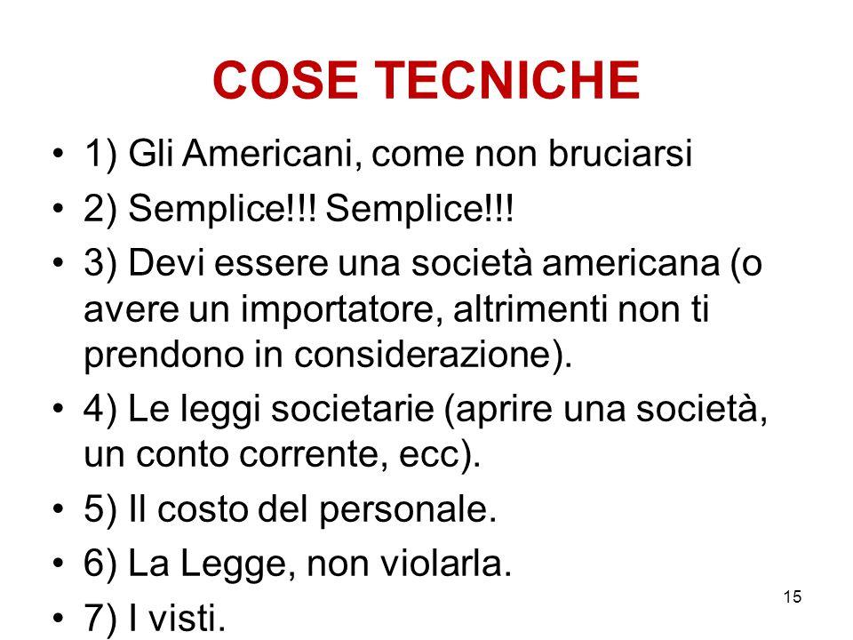 COSE TECNICHE 1) Gli Americani, come non bruciarsi 2) Semplice!!! Semplice!!! 3) Devi essere una società americana (o avere un importatore, altrimenti
