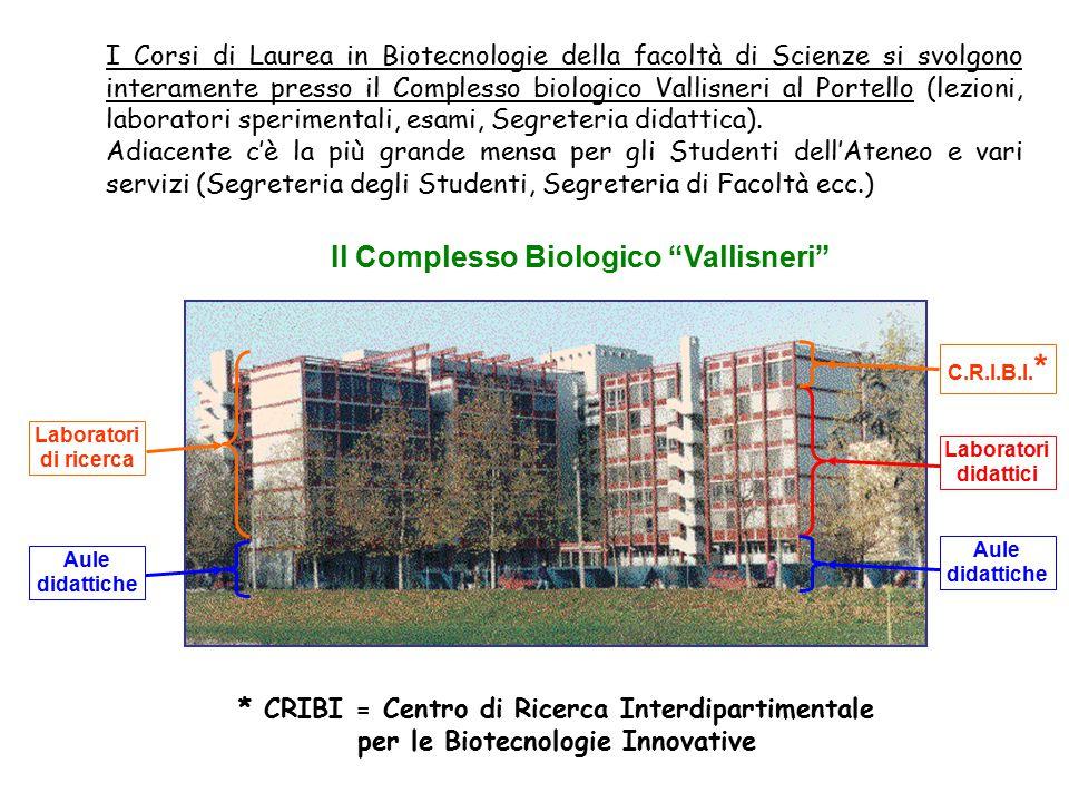 """Il Complesso Biologico """"Vallisneri"""" Laboratori didattici I Corsi di Laurea in Biotecnologie della facoltà di Scienze si svolgono interamente presso il"""