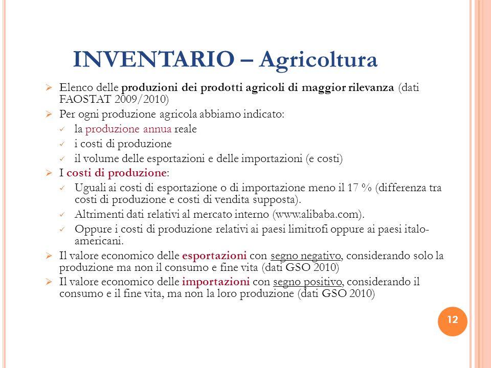 12 INVENTARIO – Agricoltura  Elenco delle produzioni dei prodotti agricoli di maggior rilevanza (dati FAOSTAT 2009/2010)  Per ogni produzione agrico