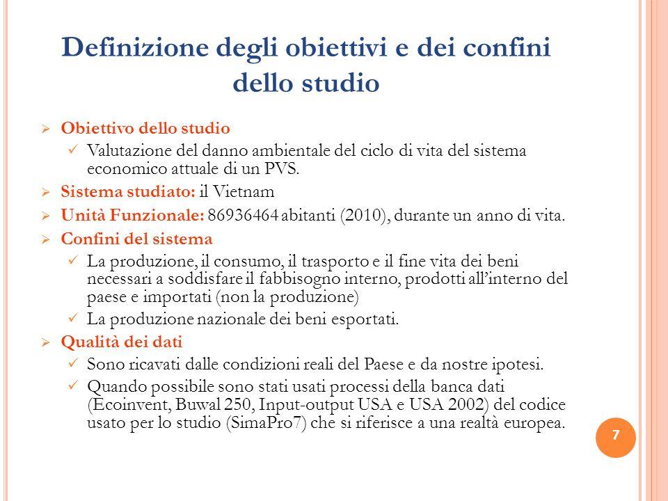 7 Definizione degli obiettivi e dei confini dello studio  Obiettivo dello studio Valutazione del danno ambientale del ciclo di vita del sistema economico attuale di un PVS.