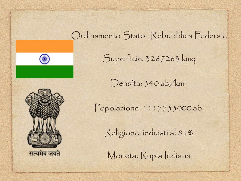 Ordinamento Stato: Rebubblica Federale Superficie: 3287263 kmq Densità: 340 ab/km'' Popolazione: 1117733000 ab. Religione: induisti al 81% Moneta: Rup