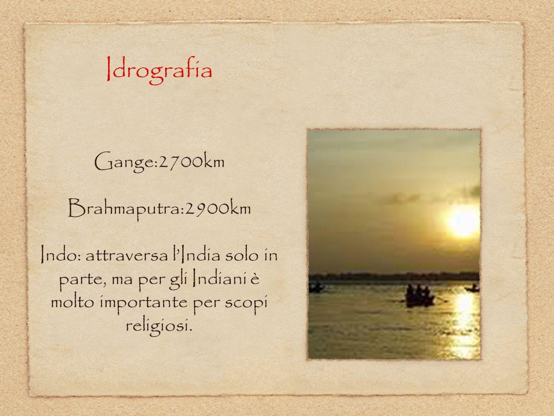 Idrografia Gange:2700km Brahmaputra:2900km Indo: attraversa l'India solo in parte, ma per gli Indiani è molto importante per scopi religiosi.