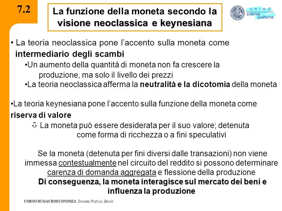 CORSO DI MACROECONOMIA Docente Prof.ssa Bevolo 7.2 a visione neoclassica e keynesiana La funzione della moneta secondo l a visione neoclassica e keyne