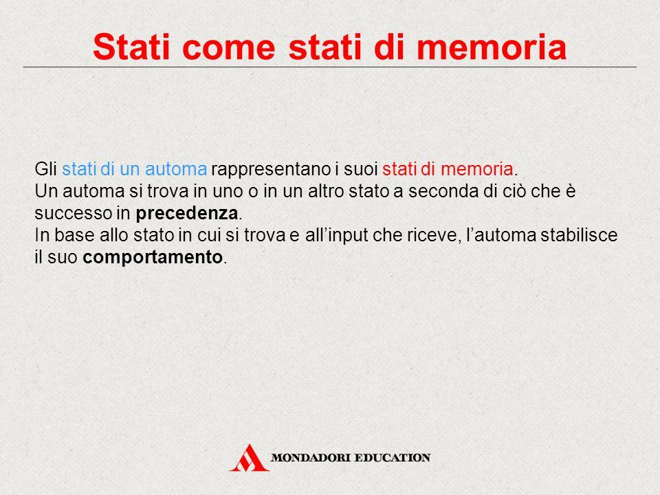 Stati come stati di memoria Gli stati di un automa rappresentano i suoi stati di memoria. Un automa si trova in uno o in un altro stato a seconda di c