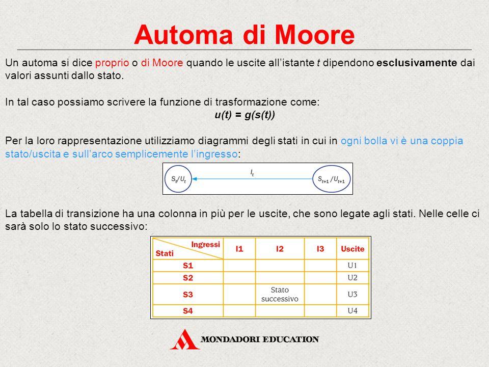Automa di Moore Un automa si dice proprio o di Moore quando le uscite all'istante t dipendono esclusivamente dai valori assunti dallo stato. In tal ca
