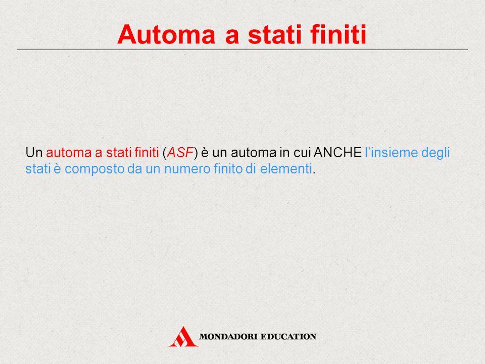 Automa a stati finiti Un automa a stati finiti (ASF) è un automa in cui ANCHE l'insieme degli stati è composto da un numero finito di elementi.