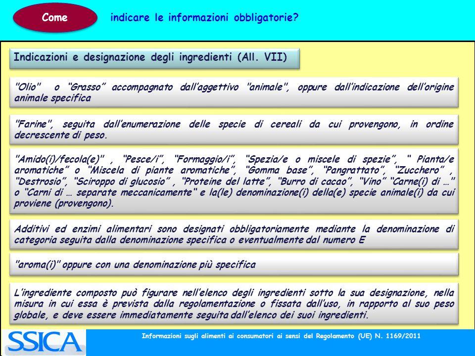 Indicazioni e designazione degli ingredienti (All. VII)