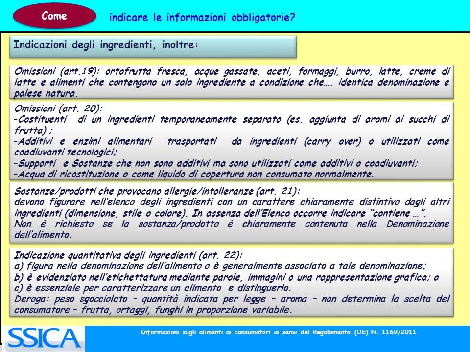 Indicazioni degli ingredienti, inoltre: Omissioni (art.19): ortofrutta fresca, acque gassate, aceti, formaggi, burro, latte, creme di latte e alimenti