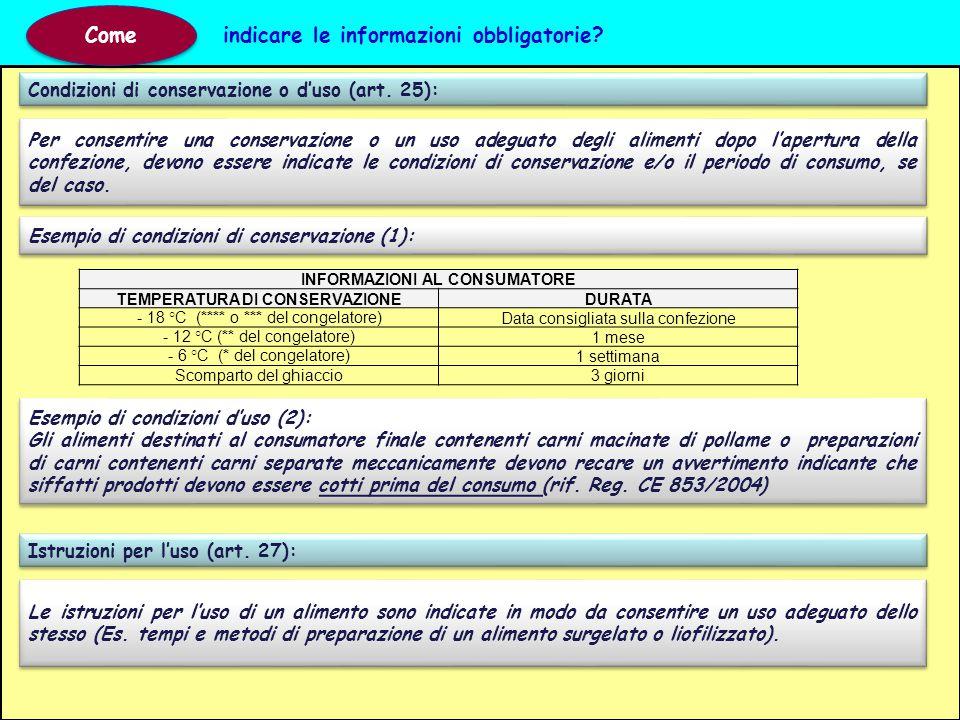 Condizioni di conservazione o d'uso (art. 25): Come indicare le informazioni obbligatorie? Per consentire una conservazione o un uso adeguato degli al