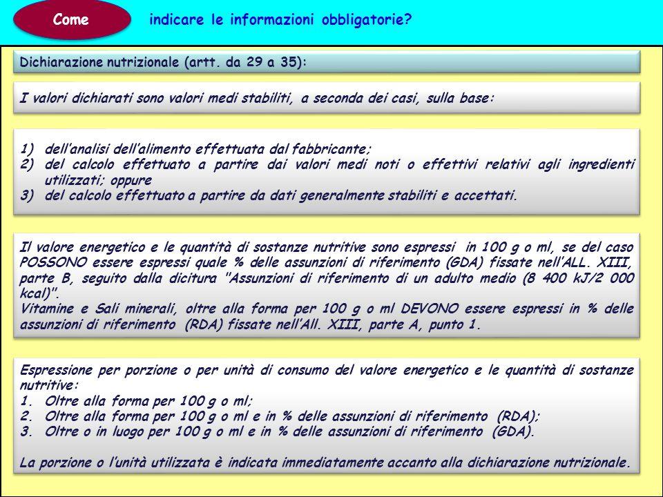 Dichiarazione nutrizionale (artt. da 29 a 35): Come indicare le informazioni obbligatorie? 1)dell'analisi dell'alimento effettuata dal fabbricante; 2)