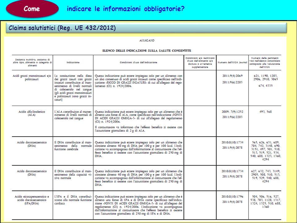 Claims salutistici (Reg. UE 432/2012) Come indicare le informazioni obbligatorie?