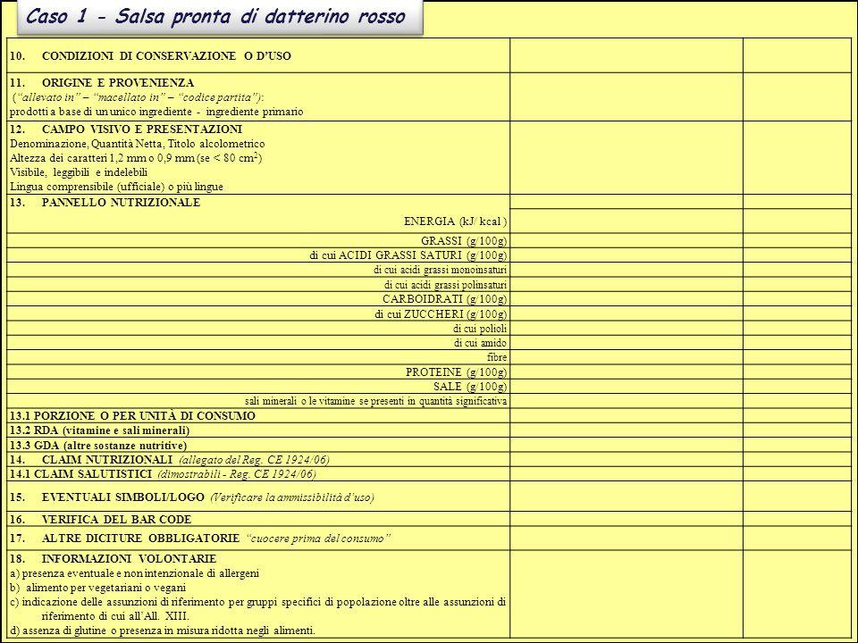 """Caso 1 - Salsa pronta di datterino rosso 10.CONDIZIONI DI CONSERVAZIONE O D'USO 11.ORIGINE E PROVENIENZA (""""allevato in"""" – """"macellato in"""" – """"codice par"""