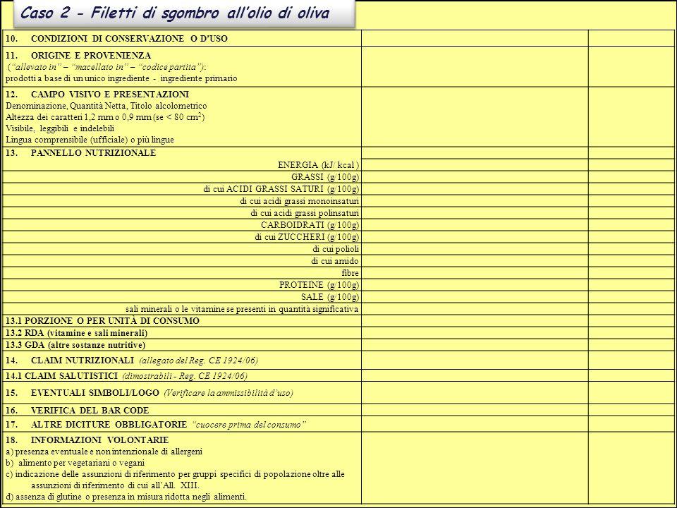"""Caso 2 - Filetti di sgombro all'olio di oliva 10.CONDIZIONI DI CONSERVAZIONE O D'USO 11.ORIGINE E PROVENIENZA (""""allevato in"""" – """"macellato in"""" – """"codic"""