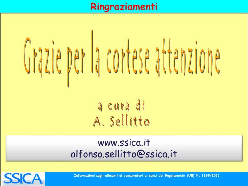 Ringraziamenti www.ssica.it alfonso.sellitto@ssica.it www.ssica.it alfonso.sellitto@ssica.it Informazioni sugli alimenti ai consumatori ai sensi del R
