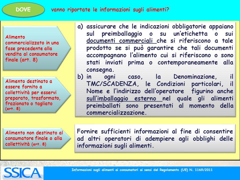 Alimento commercializzato in una fase precedente alla vendita al consumatore finale (art. 8) a)assicurare che le indicazioni obbligatorie appaiano sul