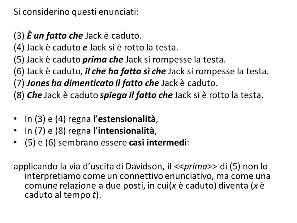 Si considerino questi enunciati: (3) È un fatto che Jack è caduto.