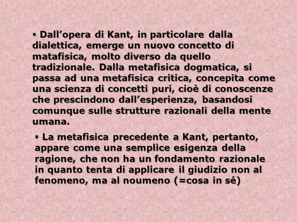  Dall'opera di Kant, in particolare dalla dialettica, emerge un nuovo concetto di matafisica, molto diverso da quello tradizionale. Dalla metafisica