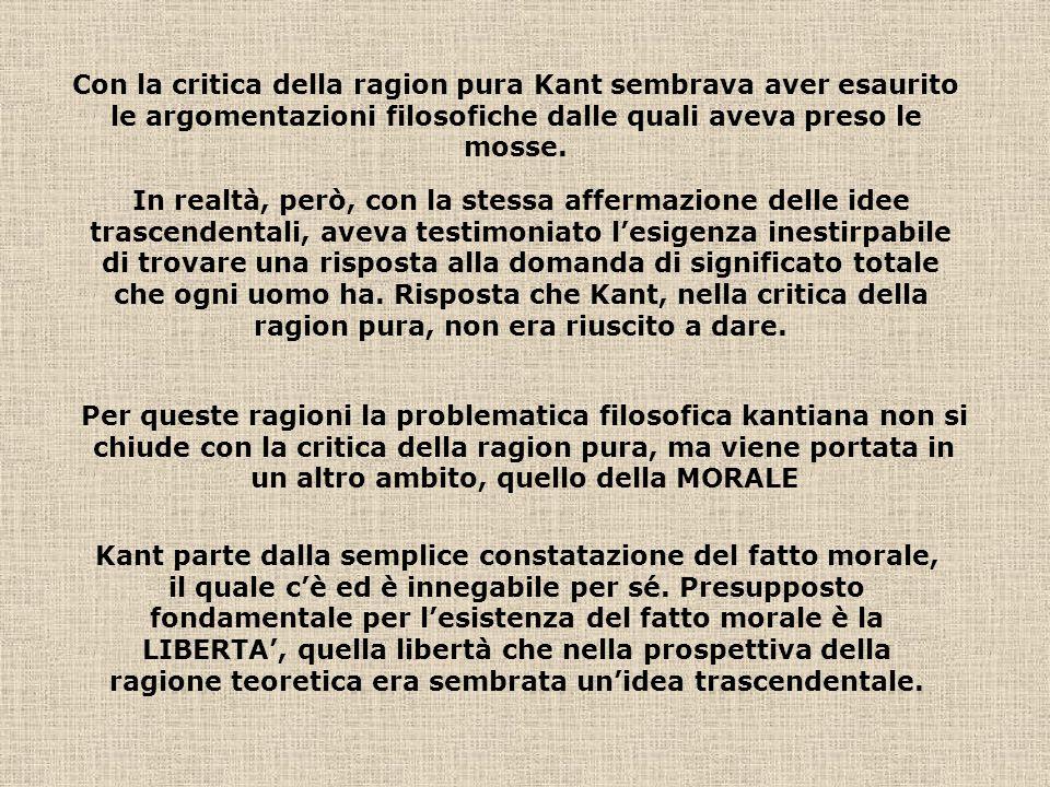 Con la critica della ragion pura Kant sembrava aver esaurito le argomentazioni filosofiche dalle quali aveva preso le mosse. In realtà, però, con la s