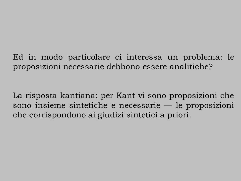 Ed in modo particolare ci interessa un problema: le proposizioni necessarie debbono essere analitiche? La risposta kantiana: per Kant vi sono proposiz