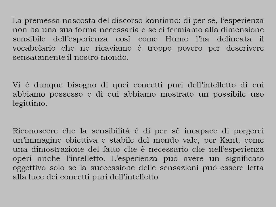 La premessa nascosta del discorso kantiano: di per sé, l'esperienza non ha una sua forma necessaria e se ci fermiamo alla dimensione sensibile dell'esperienza così come Hume l'ha delineata il vocabolario che ne ricaviamo è troppo povero per descrivere sensatamente il nostro mondo.