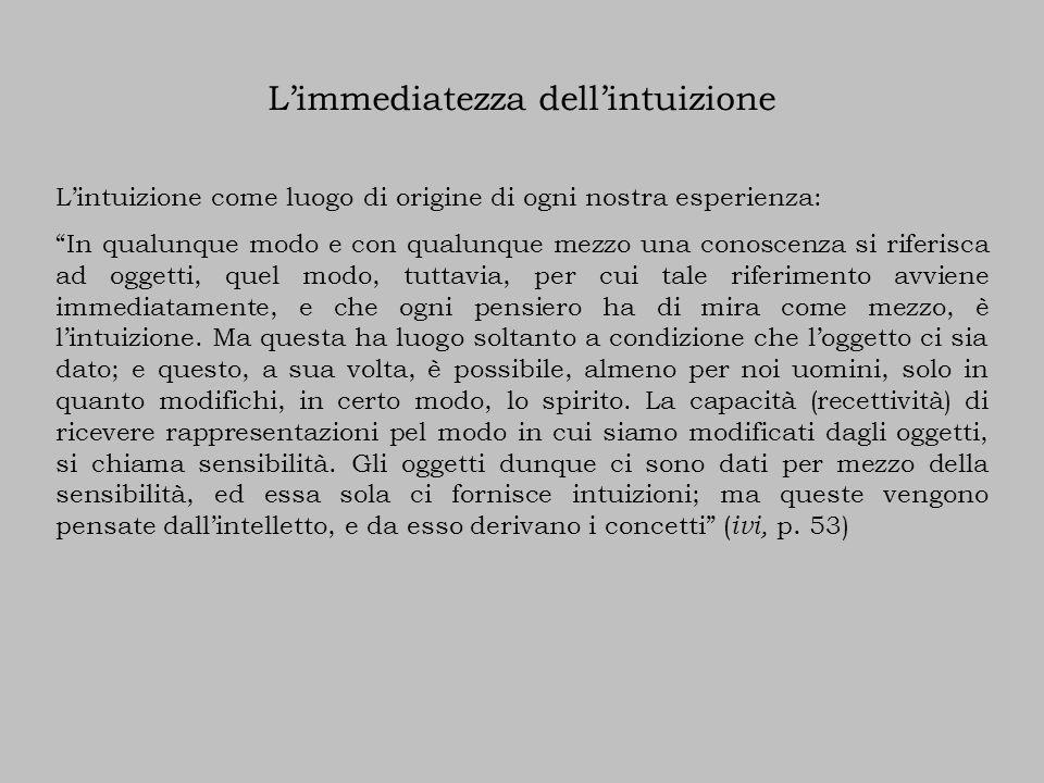 L'immediatezza dell'intuizione L'intuizione come luogo di origine di ogni nostra esperienza: In qualunque modo e con qualunque mezzo una conoscenza si riferisca ad oggetti, quel modo, tuttavia, per cui tale riferimento avviene immediatamente, e che ogni pensiero ha di mira come mezzo, è l'intuizione.