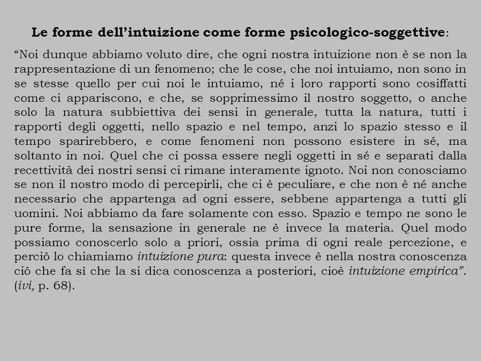 """Le forme dell'intuizione come forme psicologico-soggettive : """"Noi dunque abbiamo voluto dire, che ogni nostra intuizione non è se non la rappresentazi"""