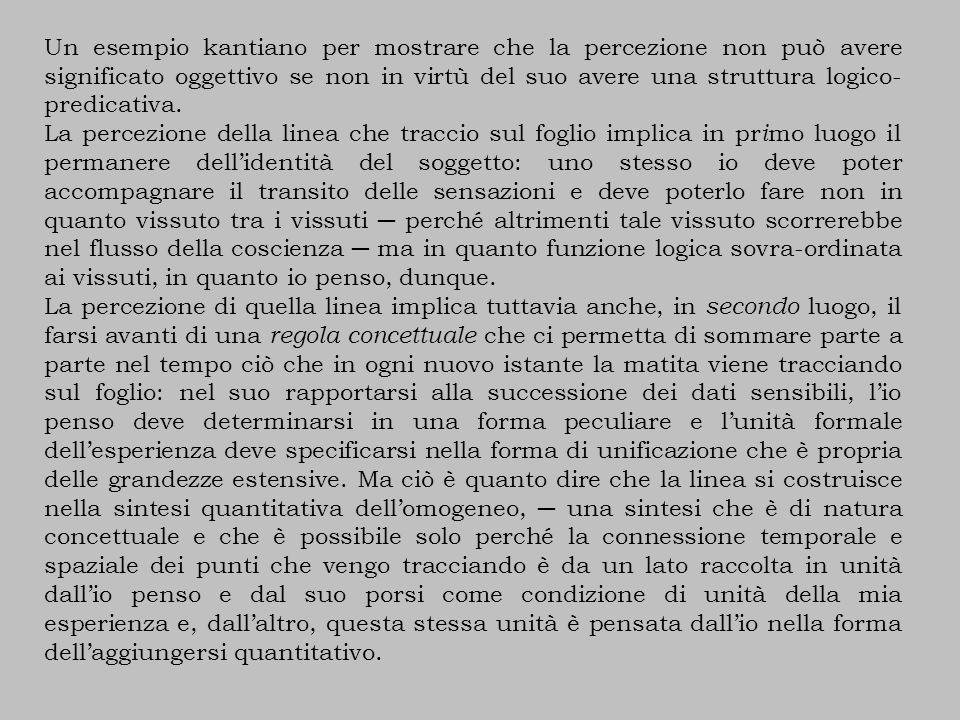Un esempio kantiano per mostrare che la percezione non può avere significato oggettivo se non in virtù del suo avere una struttura logico- predicativa.