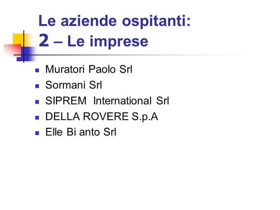 Le aziende ospitanti: 2 – Le imprese Muratori Paolo Srl Sormani Srl SIPREM International Srl DELLA ROVERE S.p.A Elle Bi anto Srl