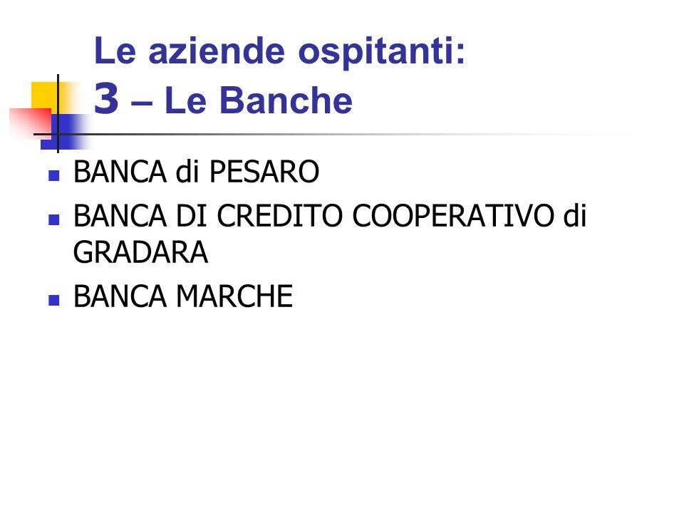 BANCA di PESARO BANCA DI CREDITO COOPERATIVO di GRADARA BANCA MARCHE Le aziende ospitanti: 3 – Le Banche