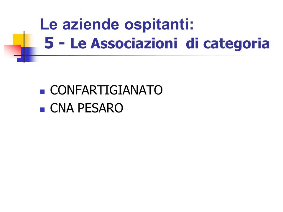 Le aziende ospitanti: 5 - Le Associazioni di categoria CONFARTIGIANATO CNA PESARO