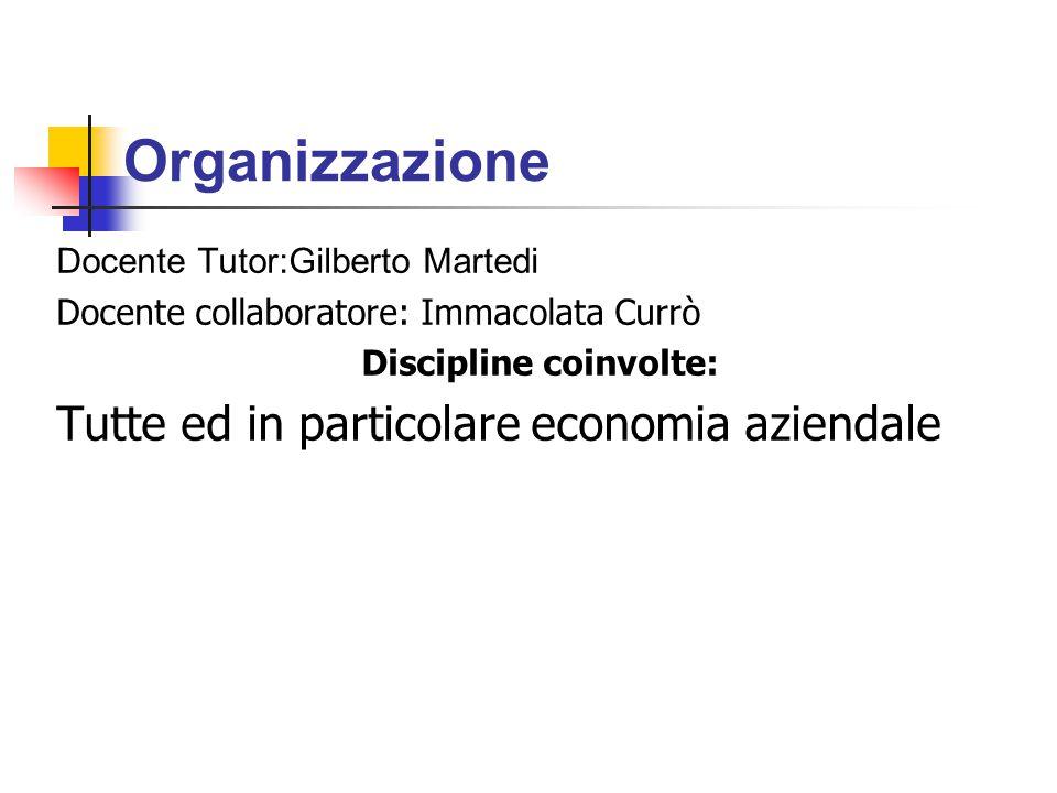 Organizzazione Docente Tutor:Gilberto Martedi Docente collaboratore: Immacolata Currò Discipline coinvolte: Tutte ed in particolare economia aziendale