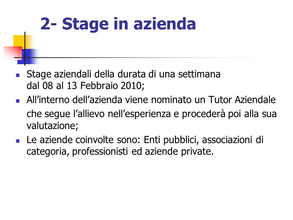 2- Stage in azienda Stage aziendali della durata di una settimana dal 08 al 13 Febbraio 2010; All'interno dell'azienda viene nominato un Tutor Azienda