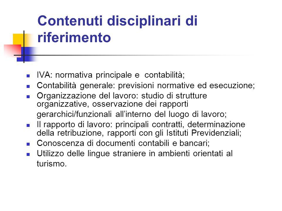 Contenuti disciplinari di riferimento IVA: normativa principale e contabilità; Contabilità generale: previsioni normative ed esecuzione; Organizzazion
