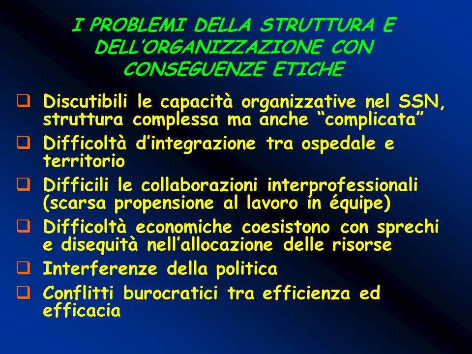 I PROBLEMI DELLA STRUTTURA E DELL'ORGANIZZAZIONE CON CONSEGUENZE ETICHE  Discutibili le capacità organizzative nel SSN, struttura complessa ma anche