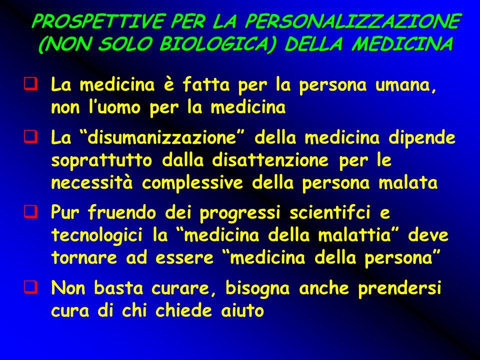 """PROSPETTIVE PER LA PERSONALIZZAZIONE (NON SOLO BIOLOGICA) DELLA MEDICINA  La medicina è fatta per la persona umana, non l'uomo per la medicina  La """""""