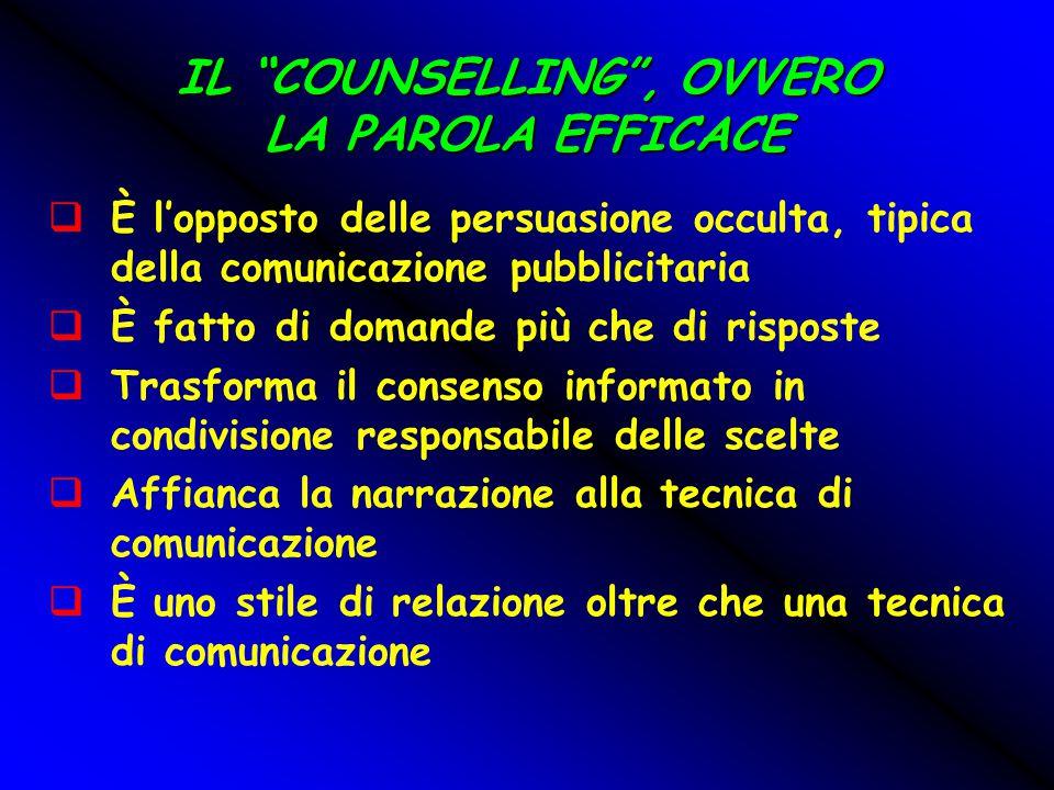 """IL """"COUNSELLING"""", OVVERO LA PAROLA EFFICACE  È l'opposto delle persuasione occulta, tipica della comunicazione pubblicitaria  È fatto di domande più"""