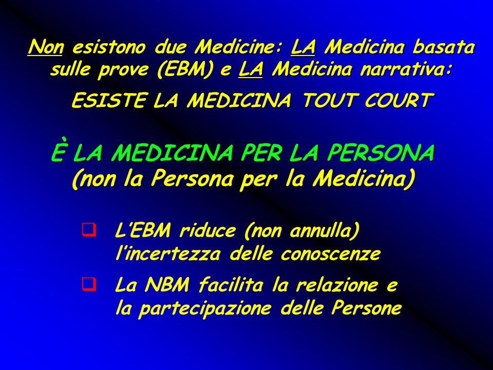Non esistono due Medicine: LA Medicina basata sulle prove (EBM) e LA Medicina narrativa: ESISTE LA MEDICINA TOUT COURT È LA MEDICINA PER LA PERSONA (n