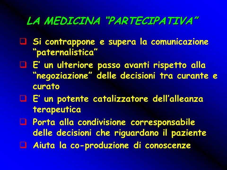 """LA MEDICINA """"PARTECIPATIVA""""  Si contrappone e supera la comunicazione """"paternalistica""""  E' un ulteriore passo avanti rispetto alla """"negoziazione"""" de"""