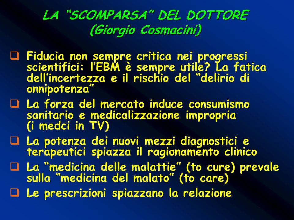 """LA """"SCOMPARSA"""" DEL DOTTORE (Giorgio Cosmacini)  Fiducia non sempre critica nei progressi scientifici: l'EBM è sempre utile? La fatica dell'incertezza"""