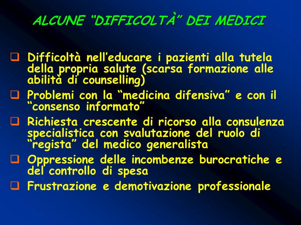 """ALCUNE """"DIFFICOLTÀ"""" DEI MEDICI  Difficoltà nell'educare i pazienti alla tutela della propria salute (scarsa formazione alle abilità di counselling) """