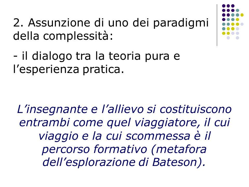2. Assunzione di uno dei paradigmi della complessità: - il dialogo tra la teoria pura e l'esperienza pratica. L'insegnante e l'allievo si costituiscon