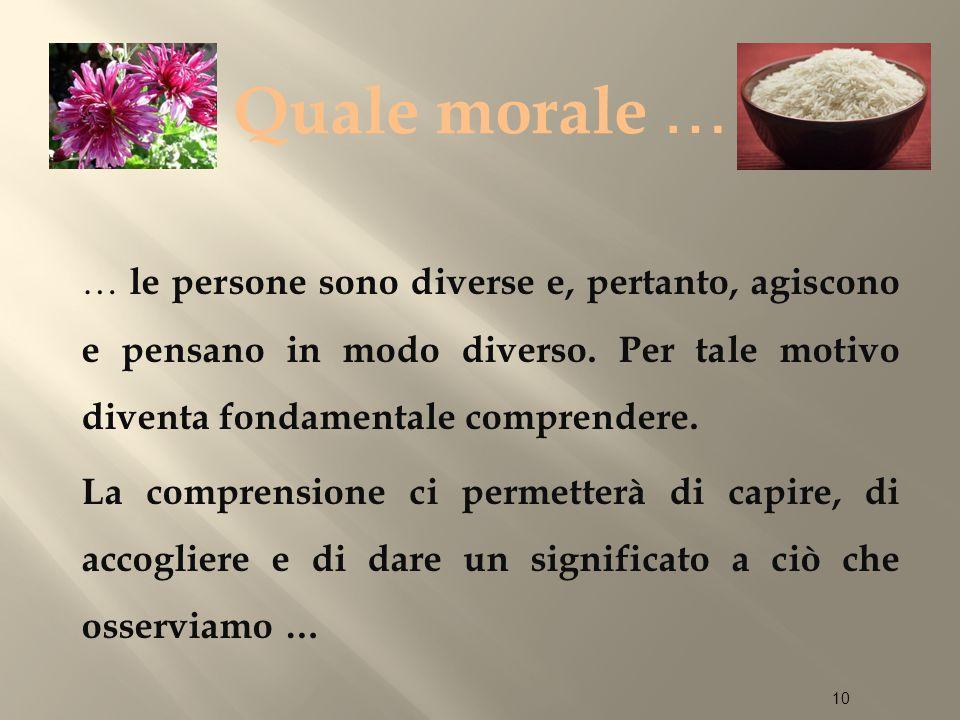 Quale morale … … le persone sono diverse e, pertanto, agiscono e pensano in modo diverso.