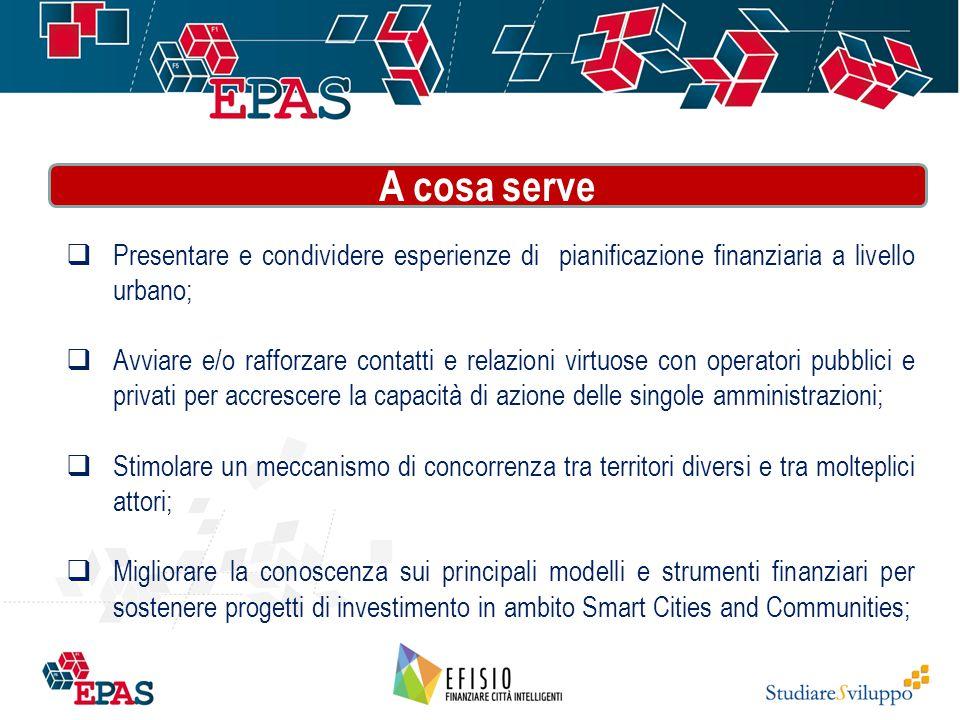  Presentare e condividere esperienze di pianificazione finanziaria a livello urbano;  Avviare e/o rafforzare contatti e relazioni virtuose con opera