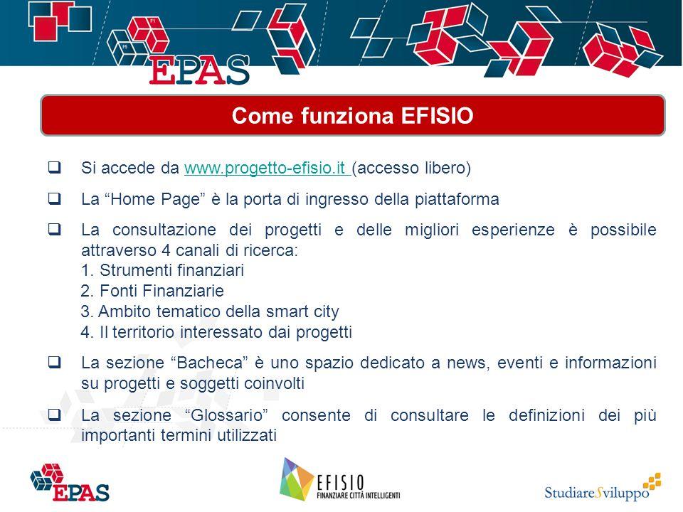  Si accede da www.progetto-efisio.it (accesso libero)www.progetto-efisio.it  La Home Page è la porta di ingresso della piattaforma  La consultazione dei progetti e delle migliori esperienze è possibile attraverso 4 canali di ricerca: 1.
