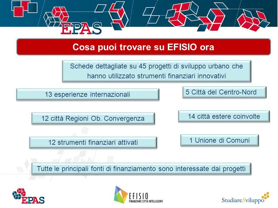 Cosa puoi trovare su EFISIO ora Schede dettagliate su 45 progetti di sviluppo urbano che hanno utilizzato strumenti finanziari innovativi 13 esperienze internazionali 12 strumenti finanziari attivati Tutte le principali fonti di finanziamento sono interessate dai progetti 14 città estere coinvolte 12 città Regioni Ob.